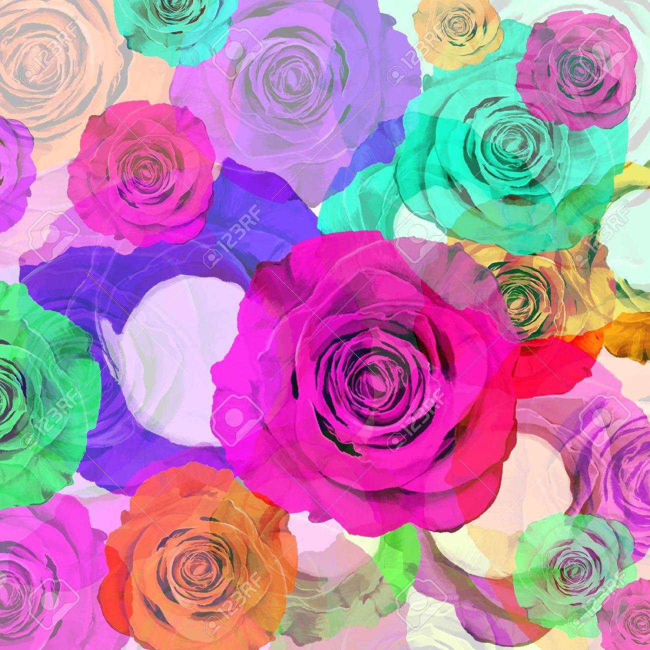 Fondo Floral Rosas De Colores El Diseño Gráfico Fotos Retratos