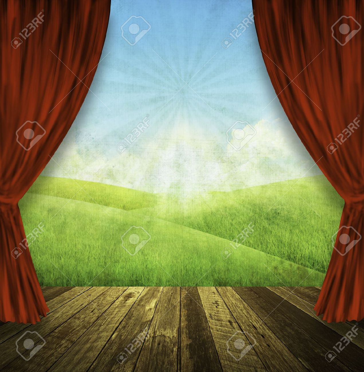 Green Stage Curtains - Theater stage with red curtains and spring summer background stock photo 12812750