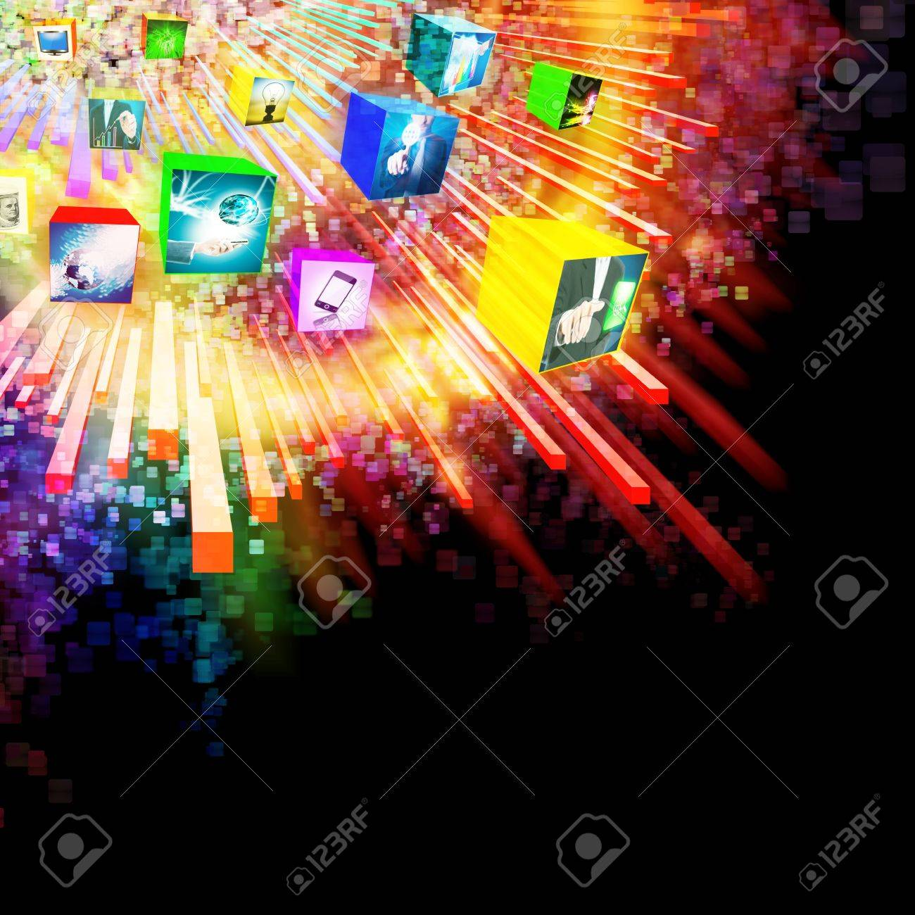 lighting effects with 3D cube ,graphic design ,business and technology concept Stock Photo - 13414652