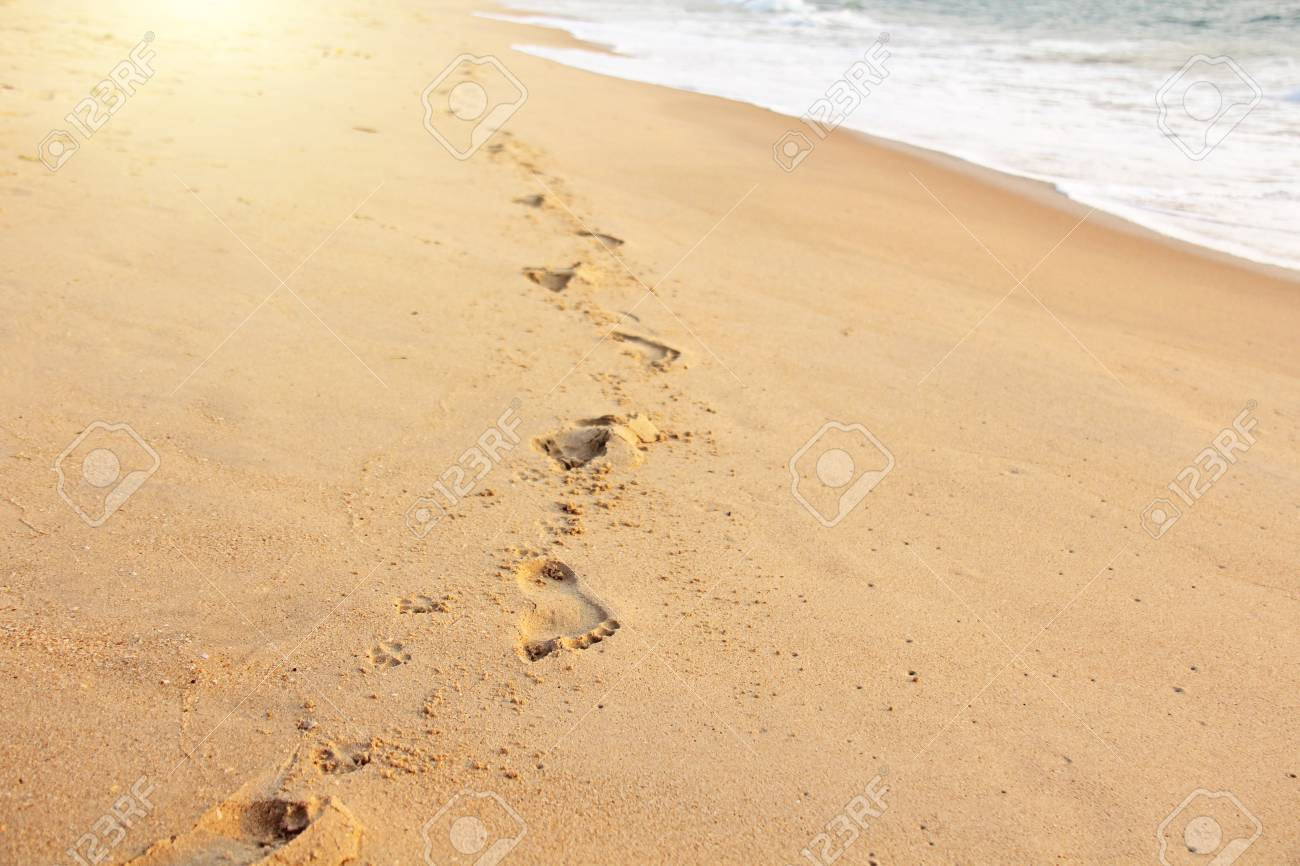 Footprints in the sand against the background of the sea. Place for text. Design with copy space. - 120209983