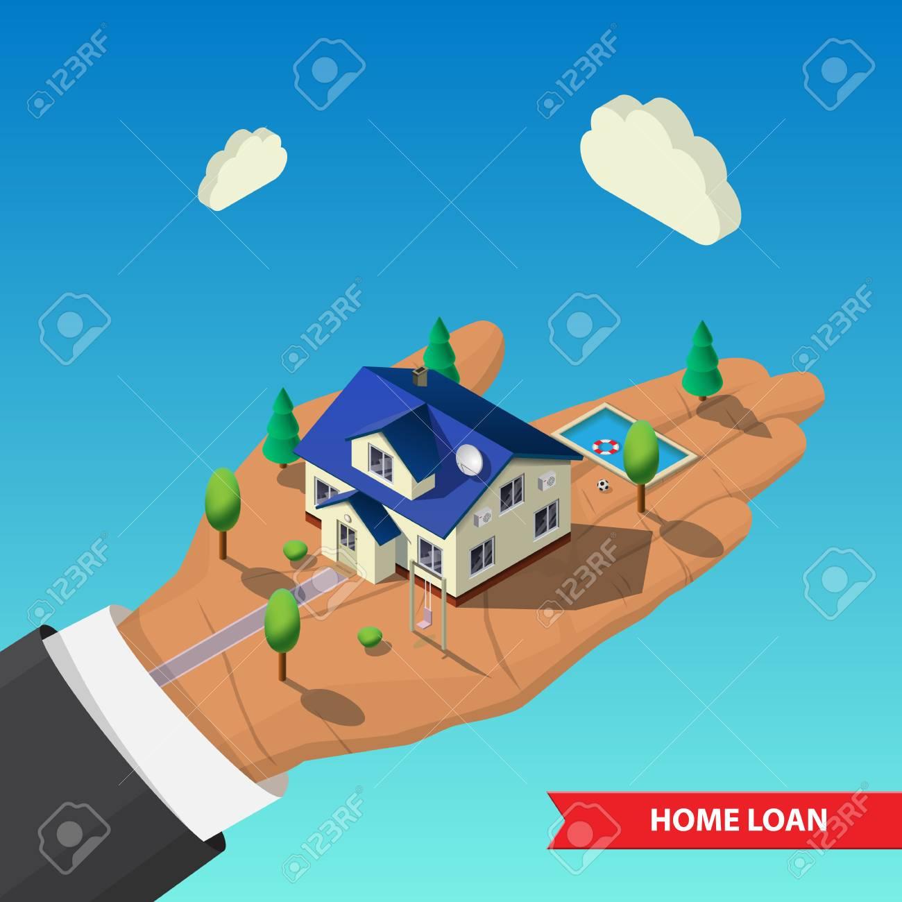 Flat 3d isometric. big hand holds a house, trees, swimming pool...