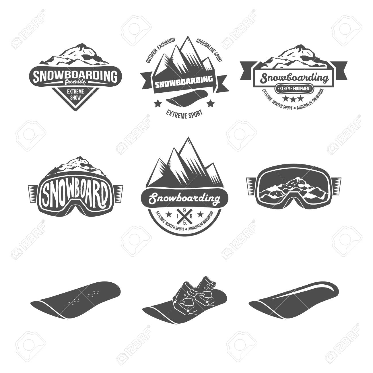 set of snowboarding logos and labels templates winter sports
