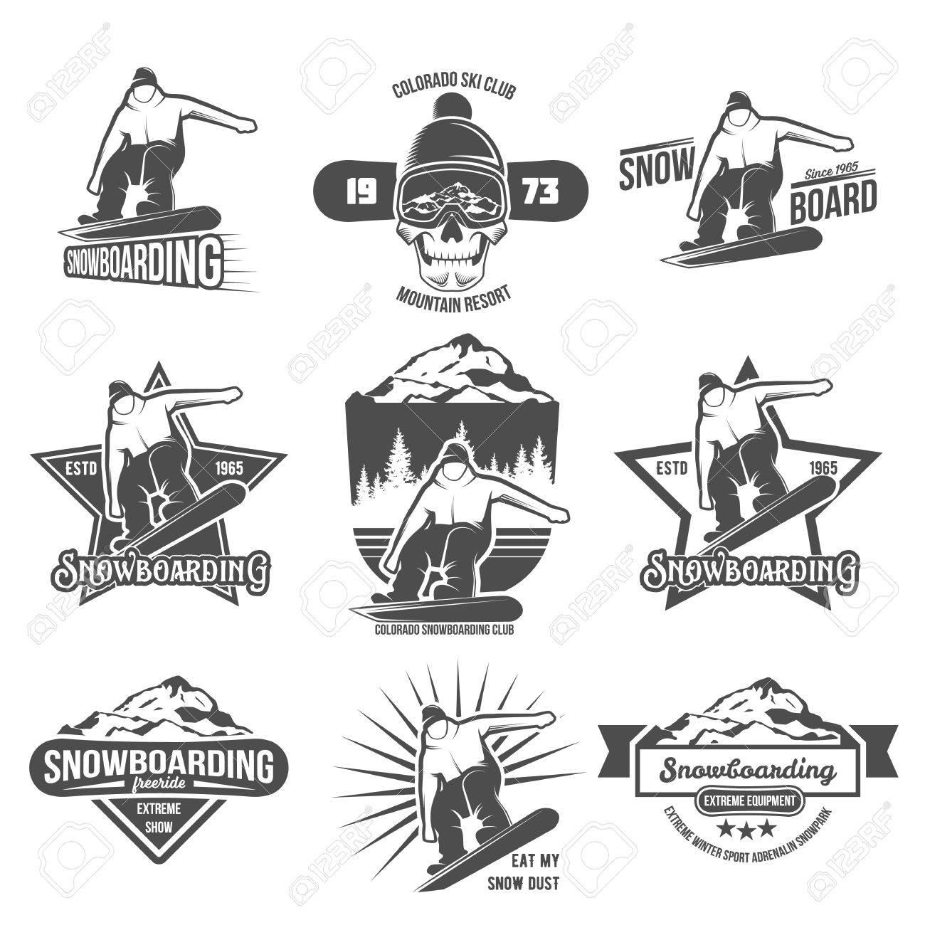 Set Snowboard Logos Und Etiketten-Vorlagen. Winter-sports.Winter ...