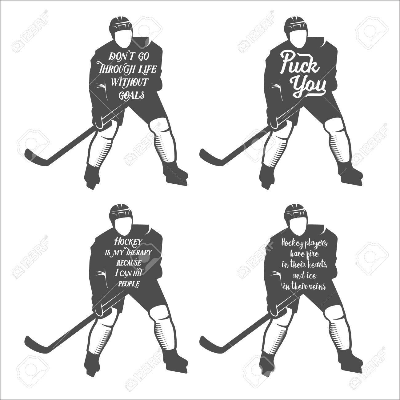 Sammlung Von Hockey-motiv Zitiert. Winter-sports.Typographic Kunst ...