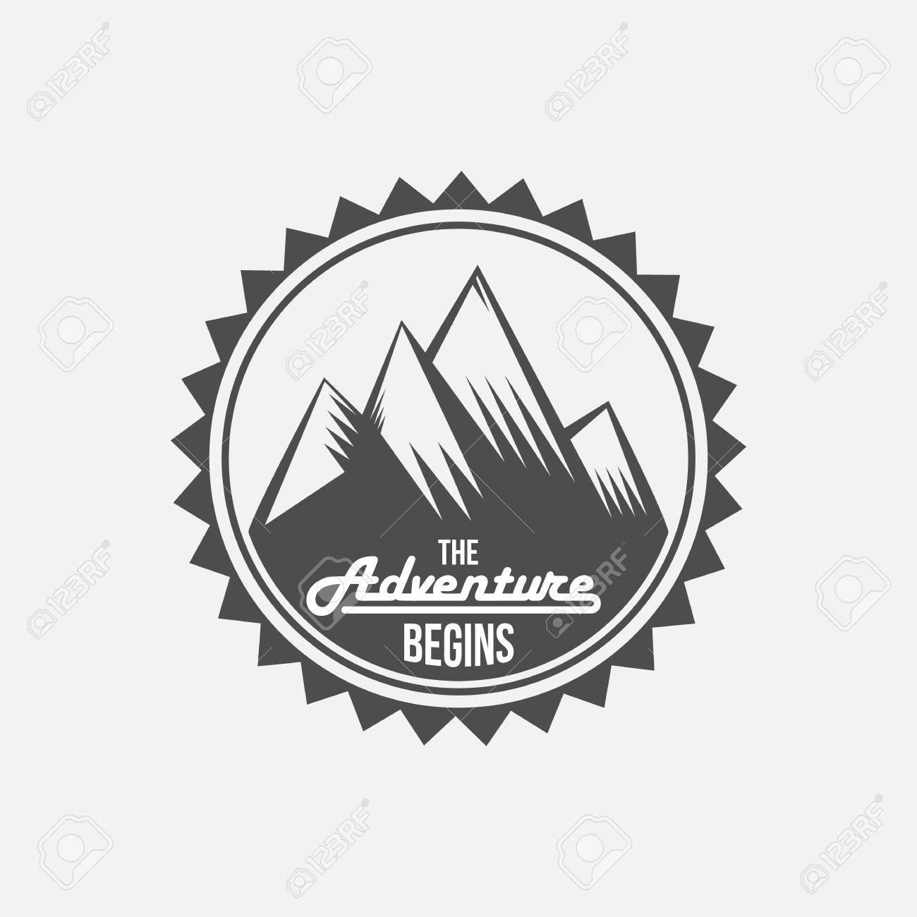 Mountain Adventure And Travel Retro Emblem Black White Shield Camping Badges