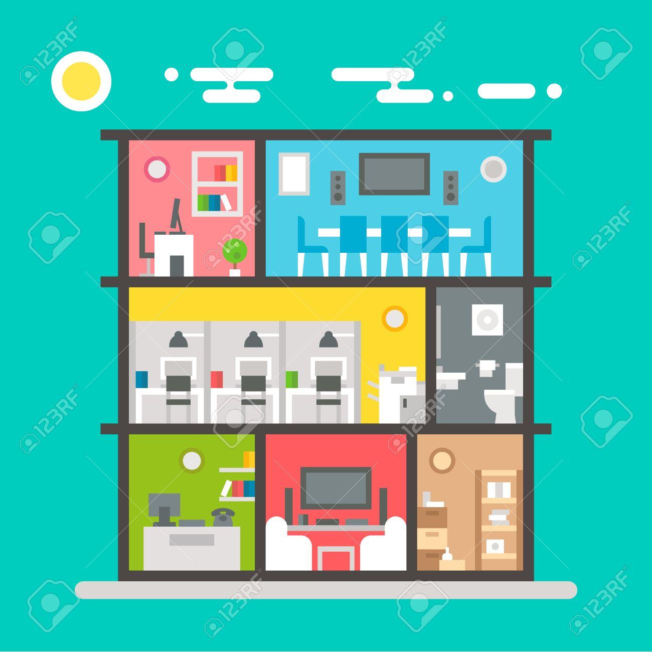 Flat Design Of Office Interior Illustration Vector Royalty Free