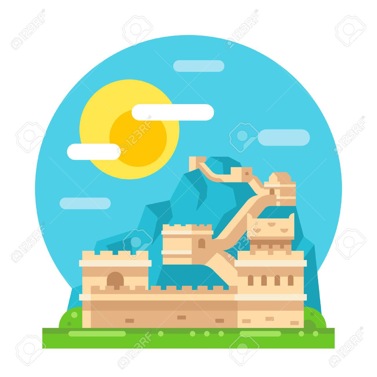 Great wall of China flat design illustration vector Stock Vector - 45160836  sc 1 st  123RF.com & Great Wall Of China Flat Design Illustration Vector Royalty Free ...