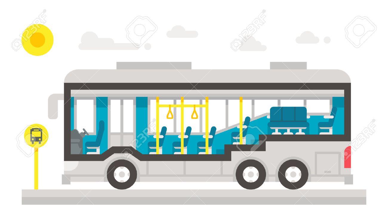フラットなデザイン バス インテリア インフォ グラフィック イラスト