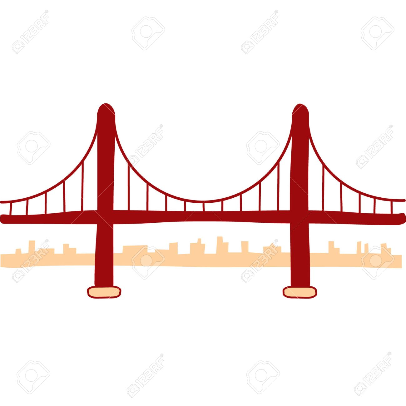 golden gate bridge illustration royalty free cliparts vectors and rh 123rf com Golden Gate Bridge SVG Golden Gate Bridge Illustration