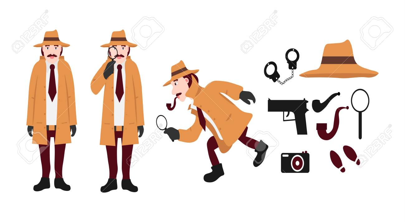 big set of detective tools and detective characters includes