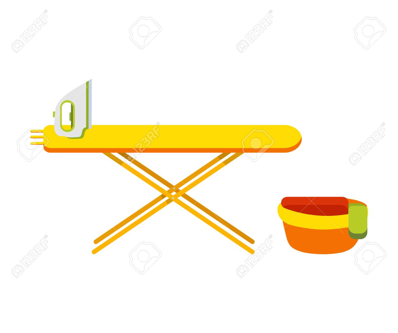 Ironing Board With Iron Basin With Things Next To The Board