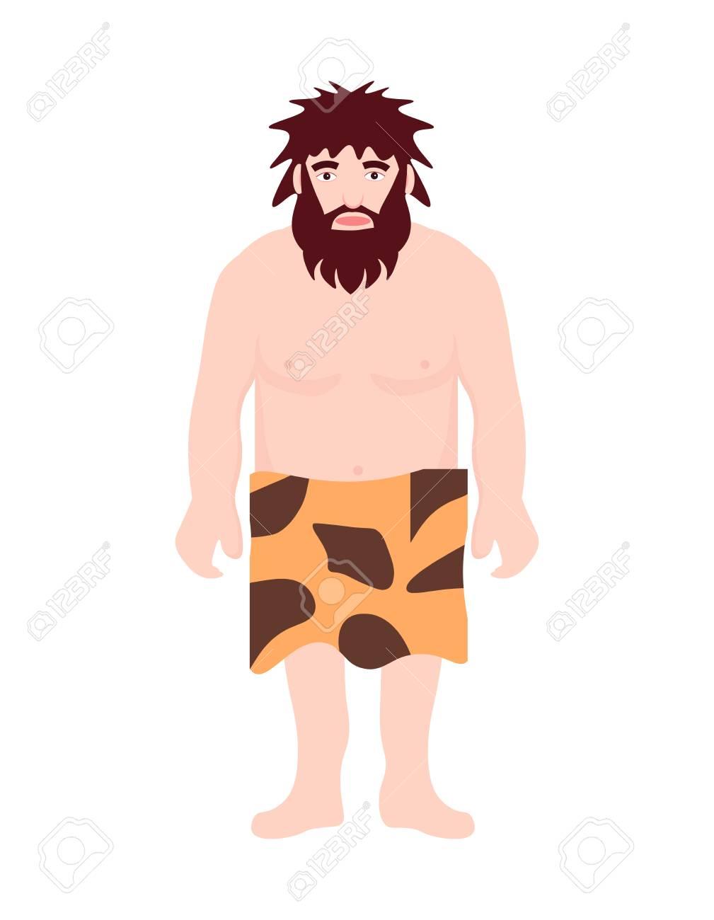 Desgaste De Homem Primitivo Da Idade Da Pedra Na Posicao Da Pele