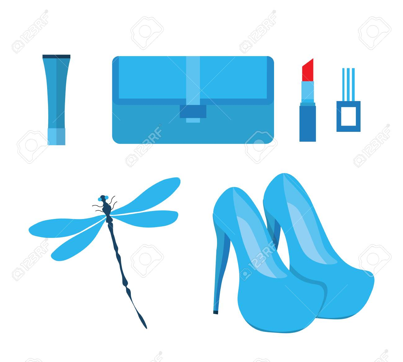 Attractive A Set Of Fashionable Blue Glamorous Things. Includes High Heeled Shoes,  Cream,