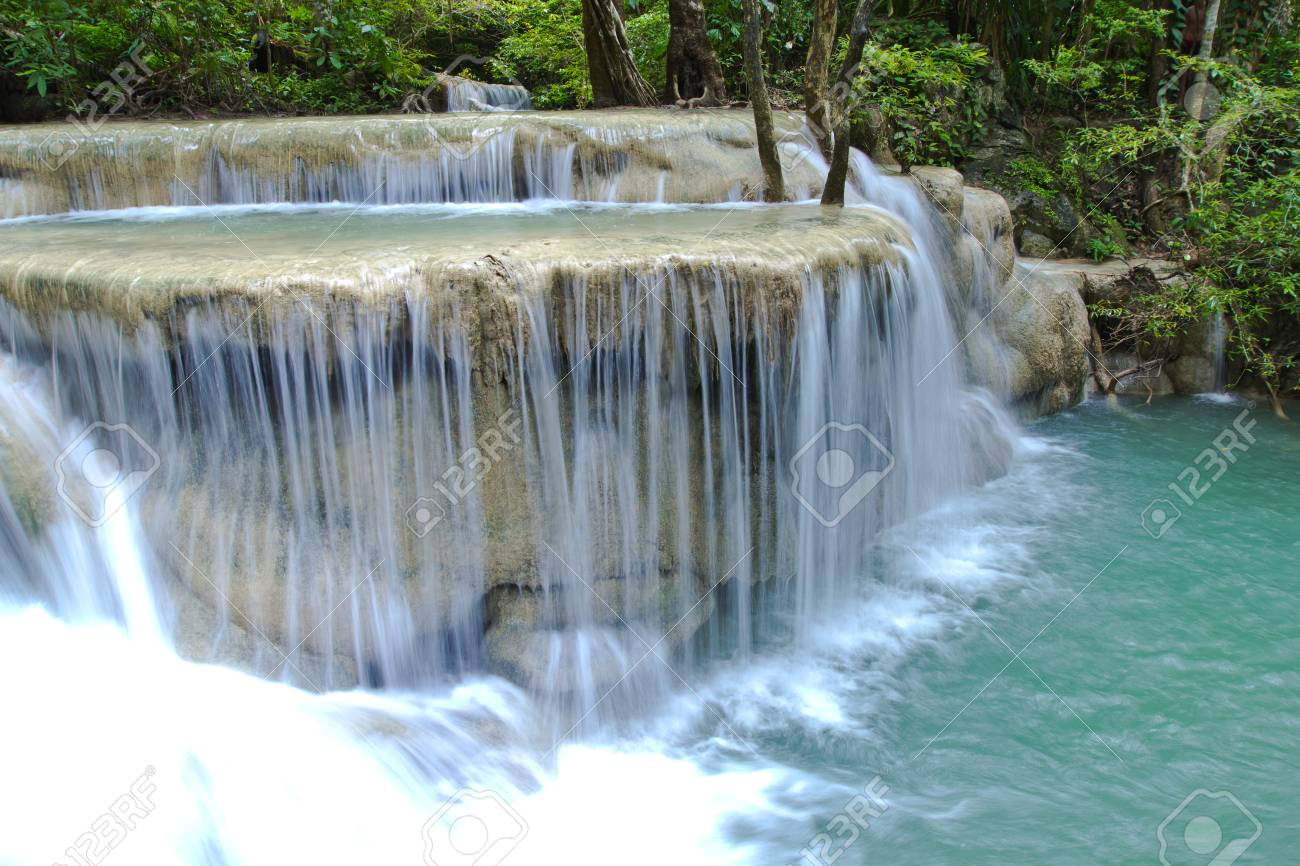 Some part of the seven layer waterfall in Erawan waterfall Stock Photo - 22870875