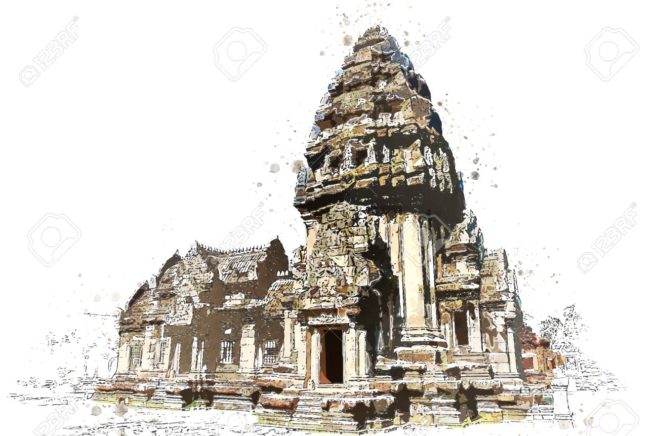 Khmer stone sanctuary in watercolor art of vector. - 106309492