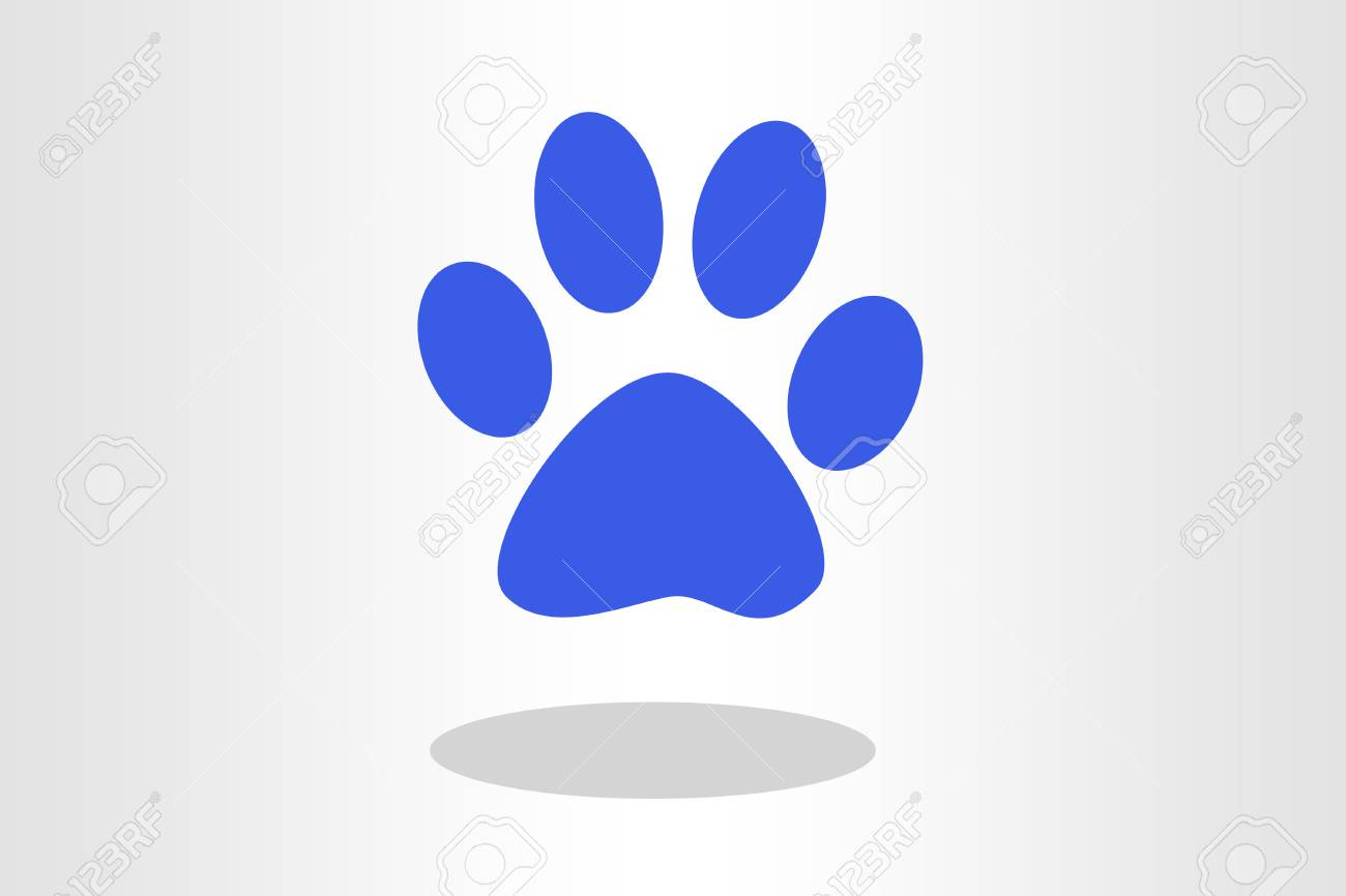 Illustration Of Blue Paw Print Against Plain Background Stock Photo