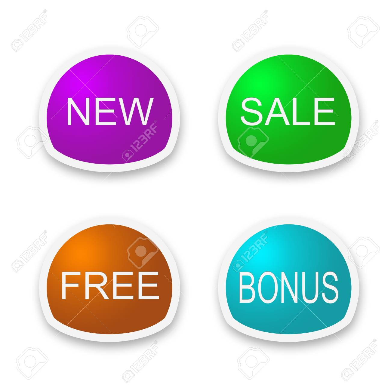 set of labels with new,sale, free, bonus Stock Photo - 10945727