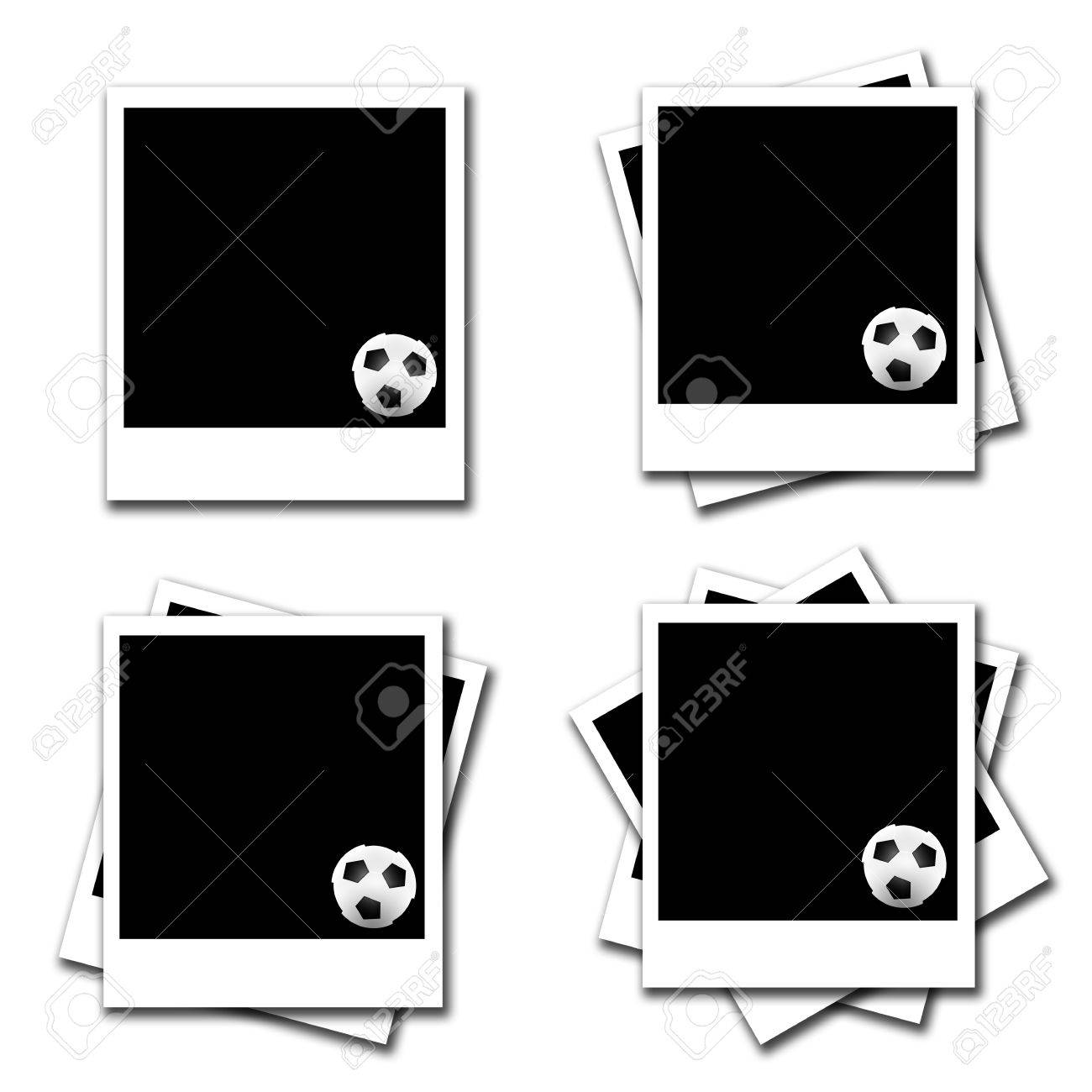 Blank Photo Frames With Soccer Frames On White Background Stock ...