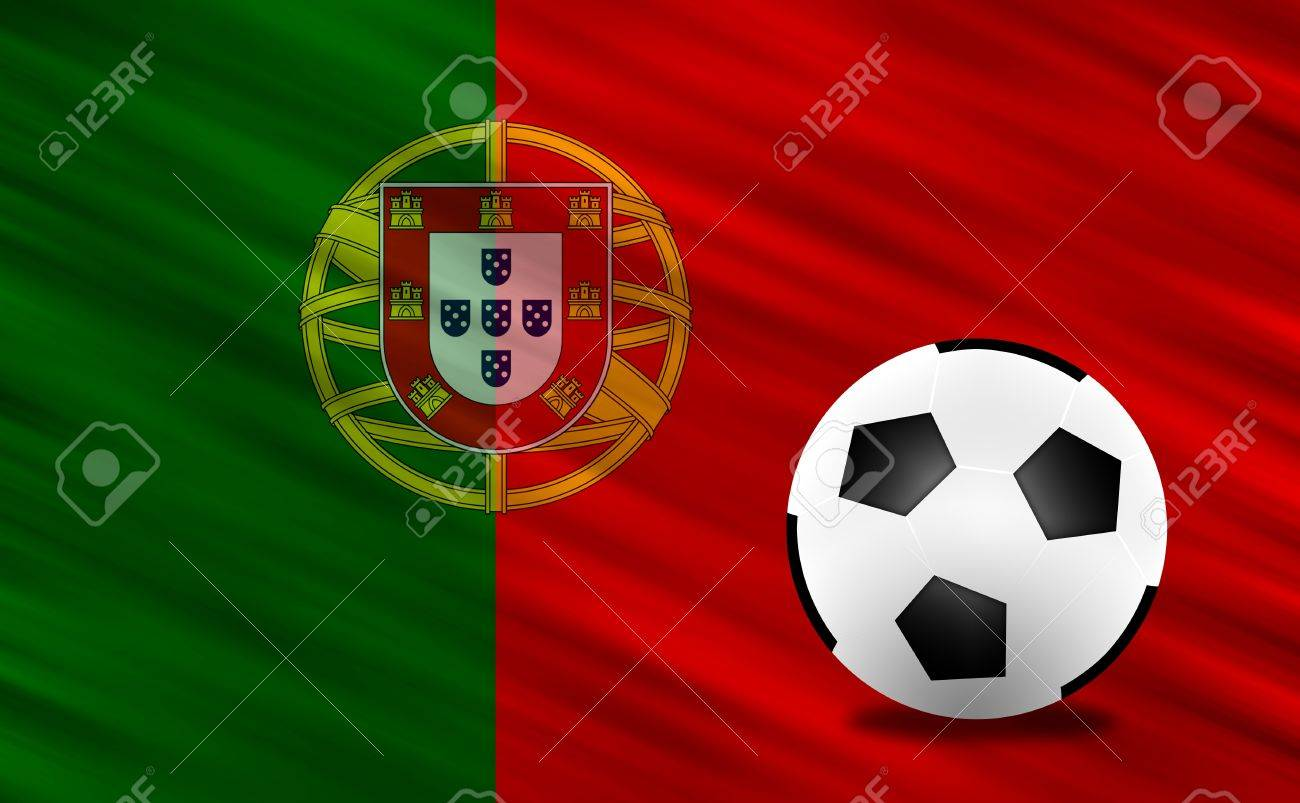 Soccer ball and Portugal flag Stock Photo - 13794276