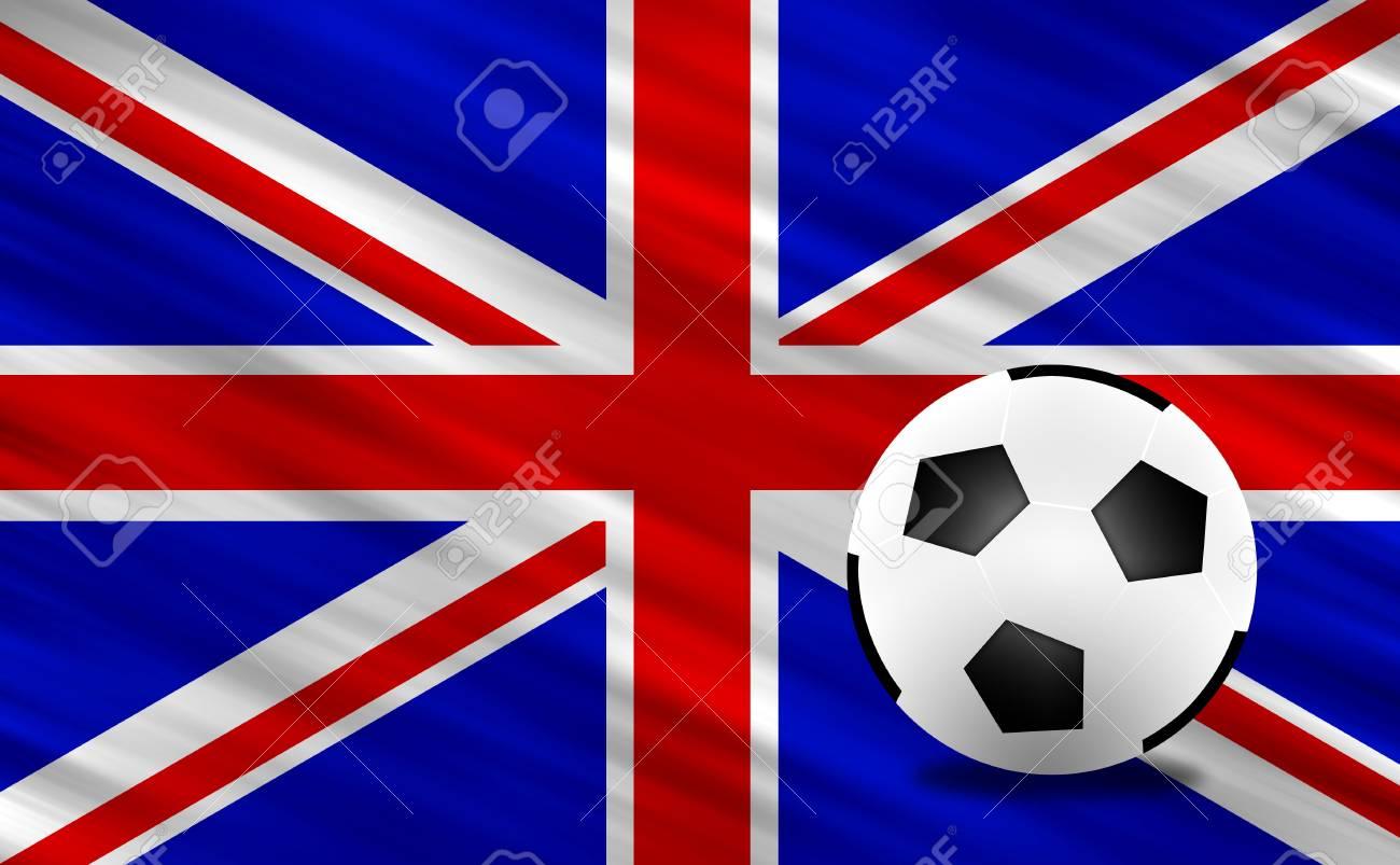 Soccer ball and  United Kingdom  flag Stock Photo - 13794279