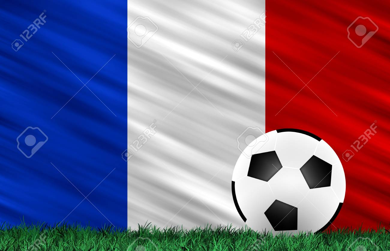 Soccer ball on grass field and  France flag Stock Photo - 13794346