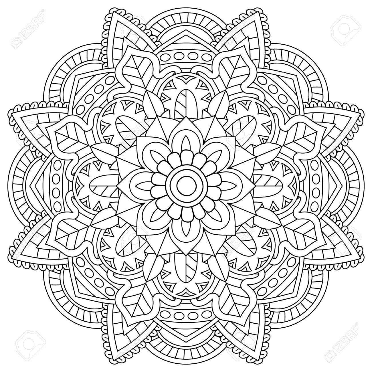 flower mandala for coloring pages - 108946202