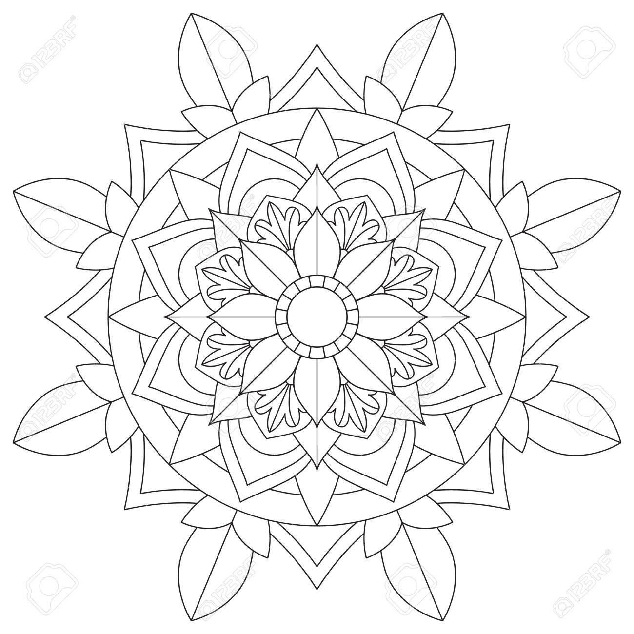 Flower Mandala For Coloring Pages Lizenzfrei Nutzbare Vektorgrafiken