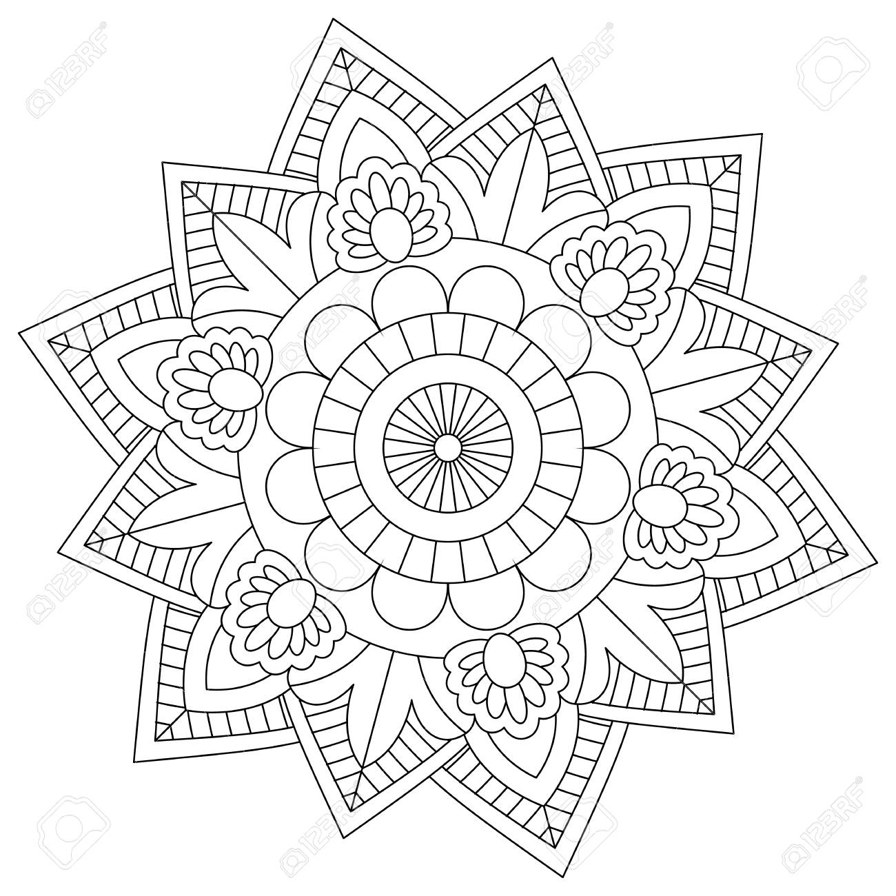 - Flower Mandala For Coloring Pages Royalty Free Cliparts, Vectors