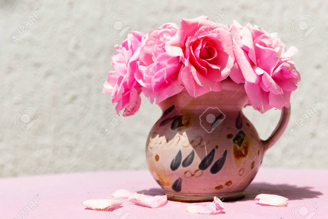 Beautiful small vase with pink flowers stock photo picture and beautiful small vase with pink flowers stock photo 30084771 floridaeventfo Images