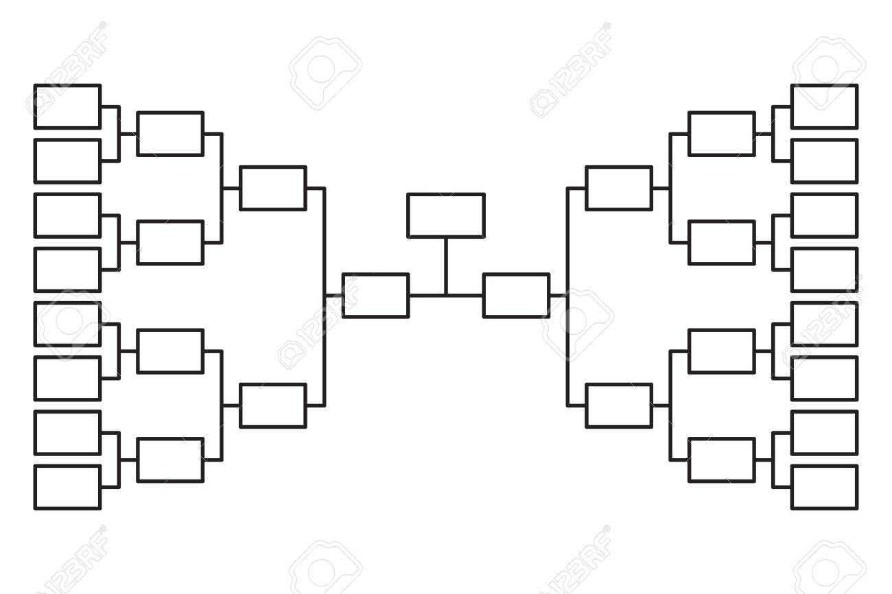 Tournament bracket 16 team icon template