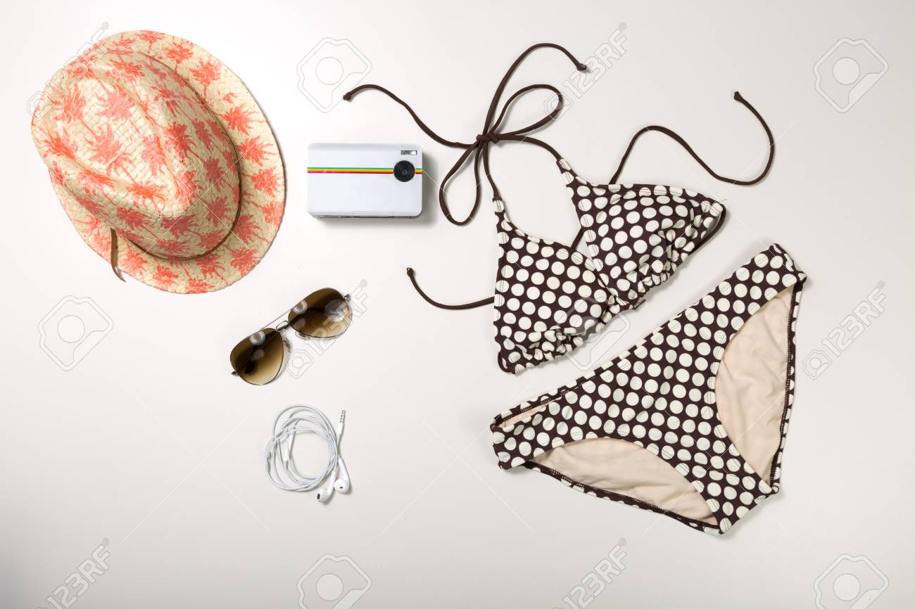 ca9a7805ecc Collage of woman clothing and accessories isolated on white background Stock  Photo - 43190822