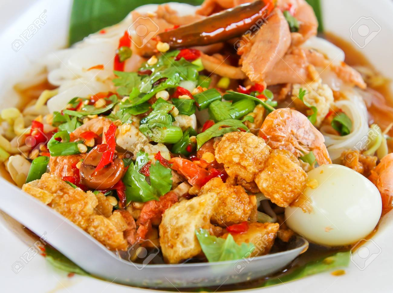 Pad Thai noodle dishes with many ingredients Stock Photo - 17289866