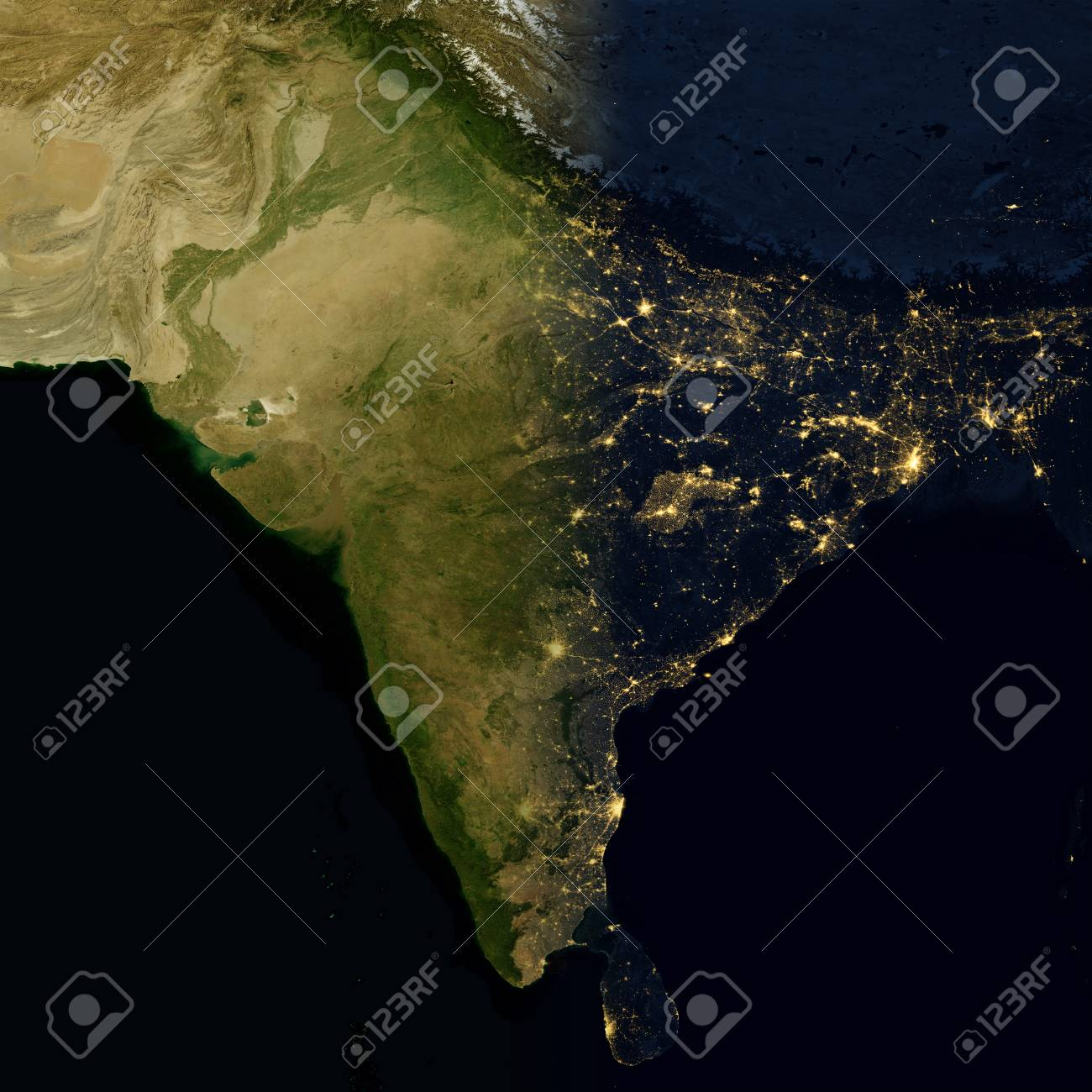 City Lights On World Map India Elements Of This Image Are