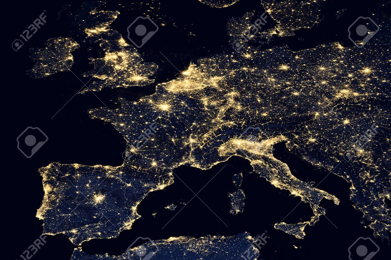 City Lights On World Map Europe Elements Of This Image Are Stock