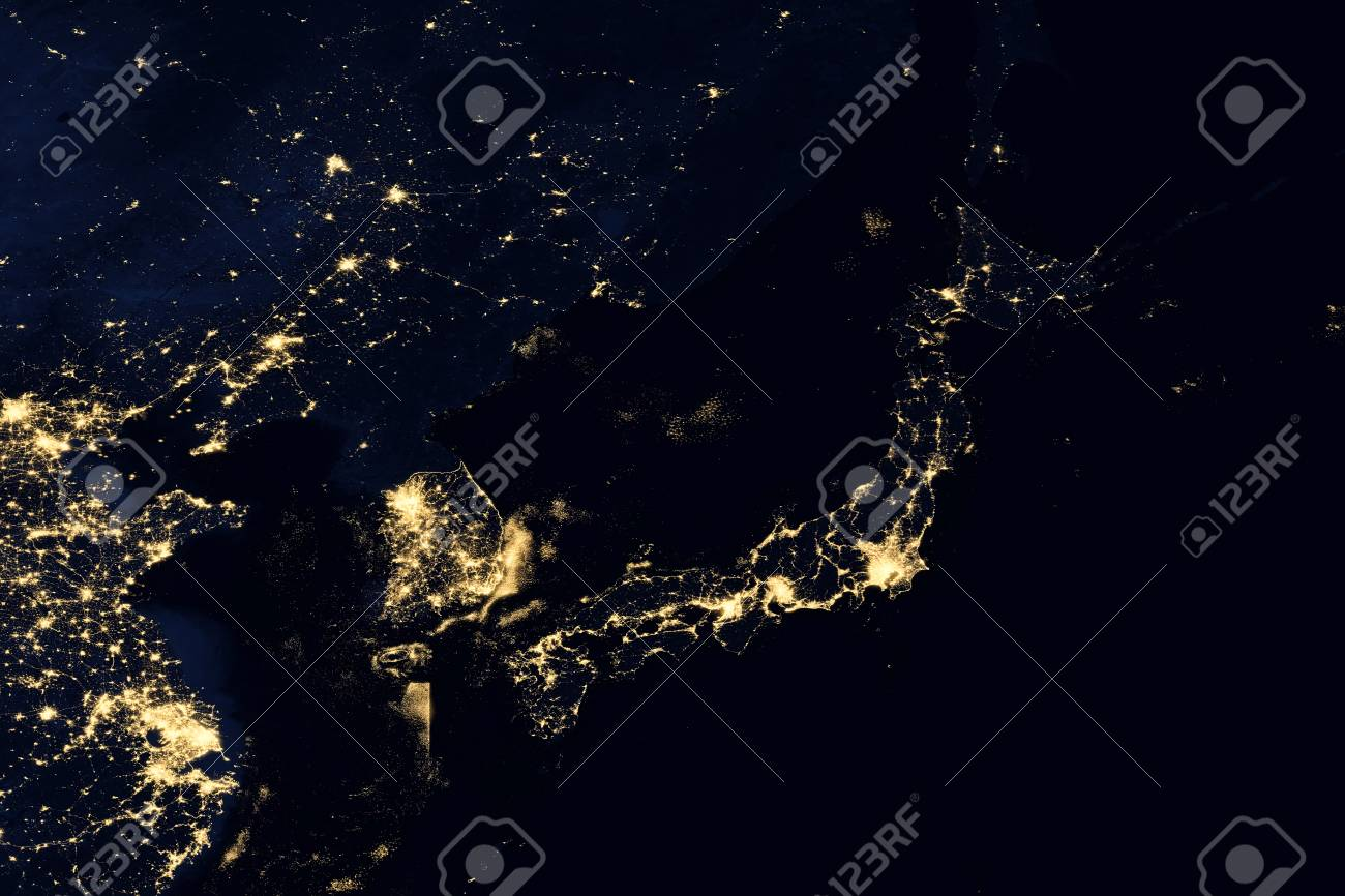 city lights on world map japan elements of this image are furnished by nasa