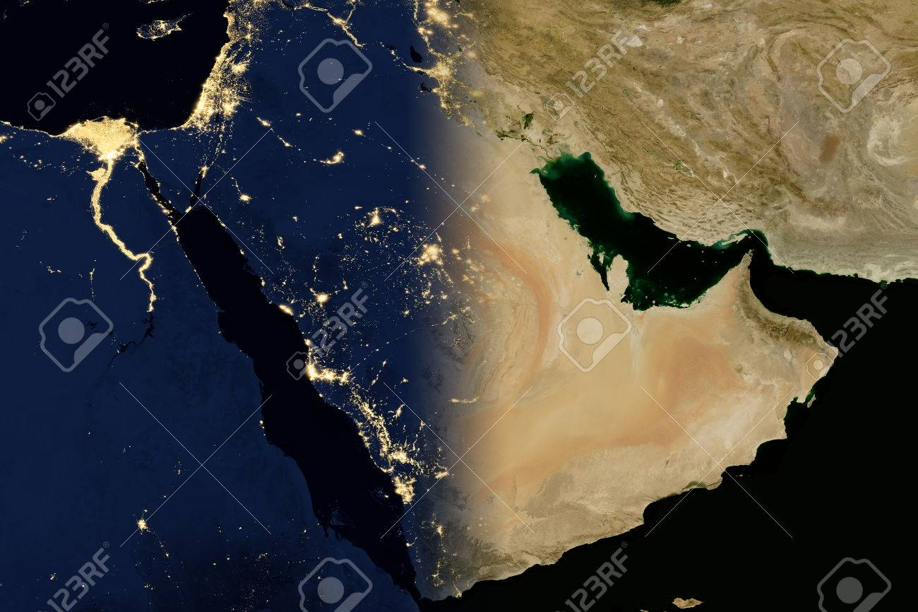 city lights on world map arabian peninsula elements of this image are furnished by