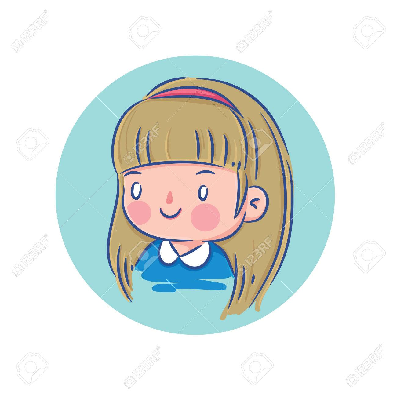 Vector Illustration Of Happy Little Girl With Blond Hair In Blue