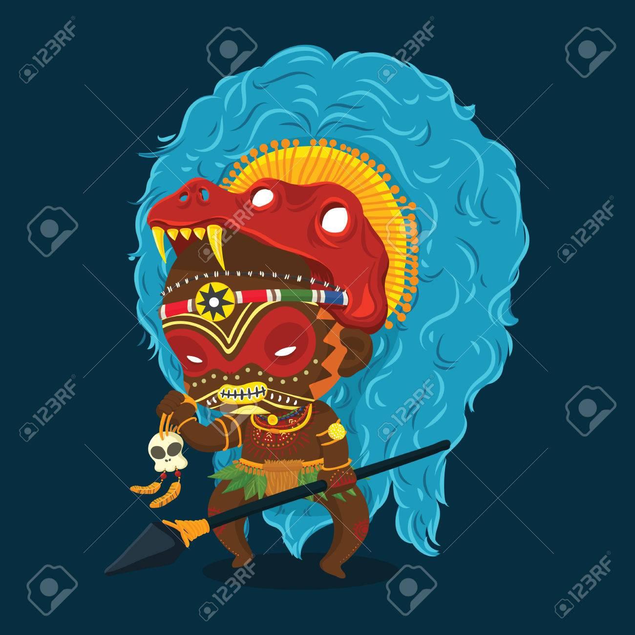 54950f86cdcf Archivio Fotografico - Illustrazione vettoriale di Tribù dell Africa  Sciamano con lancia e Skull personaggio dei cartoni animati