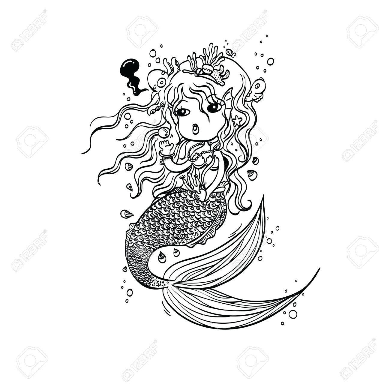 Ilustración Del Vector De La Sirenita Bajo La Mano Drawn Mar Personaje De Dibujos Animados Para Colorear Doodle