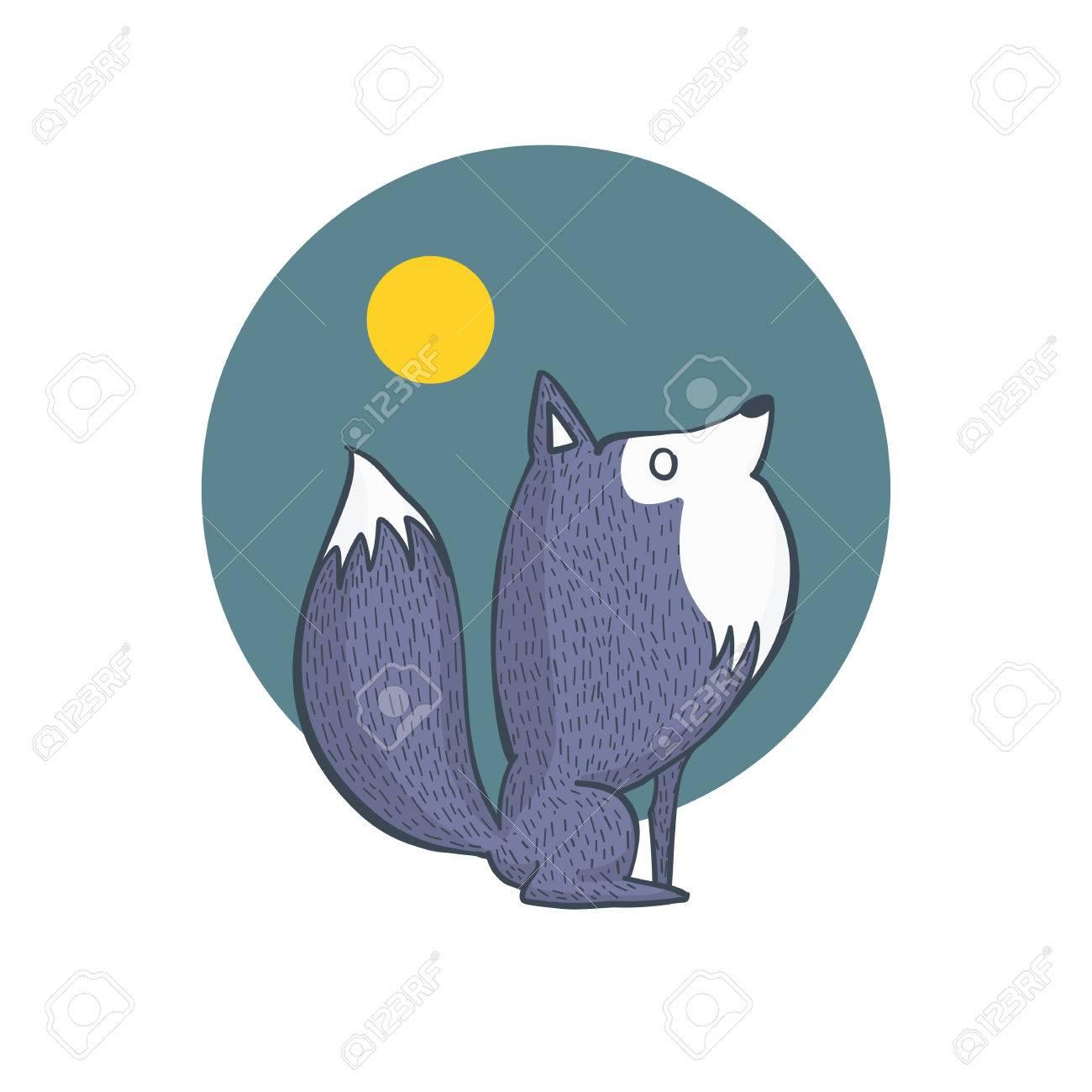 Ilustración Del Lobo Gris Y De La Luna Llena Del Paisaje Dibujos