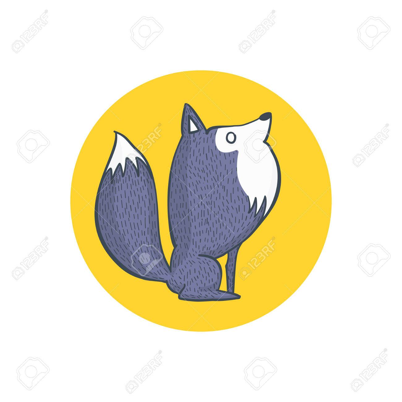 illustration of gray wolf and full moon cartoon character hand