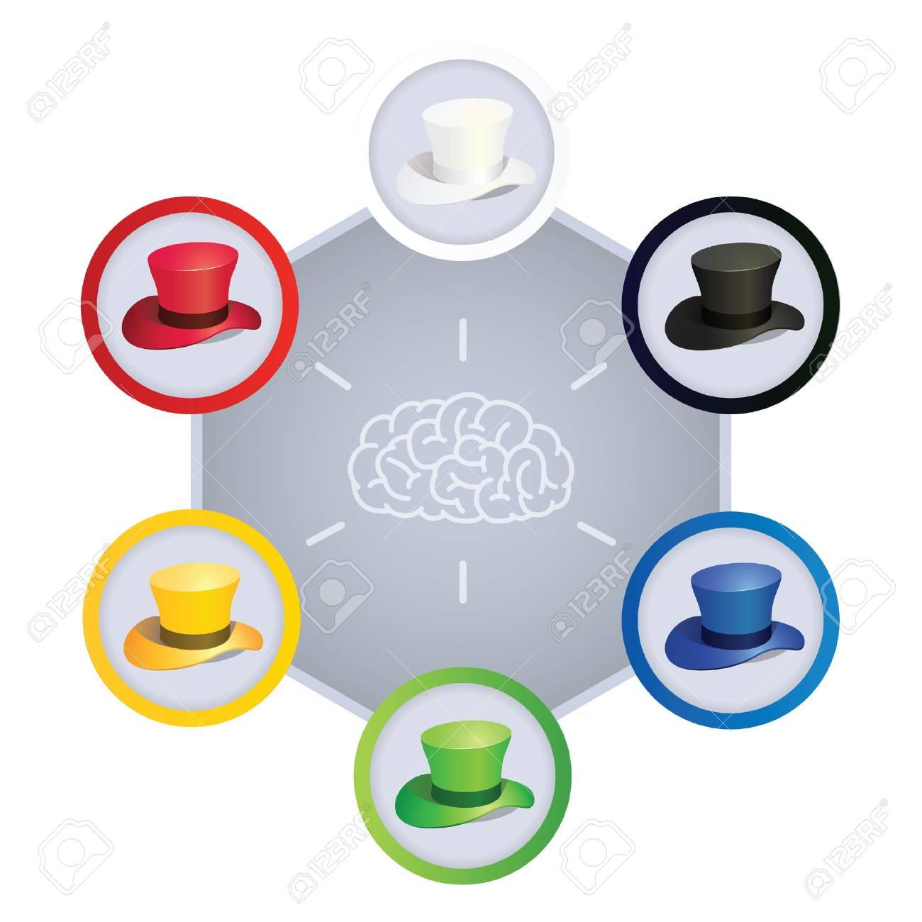 1d1e31bca7f52 Illustration Of Six Colors Hats
