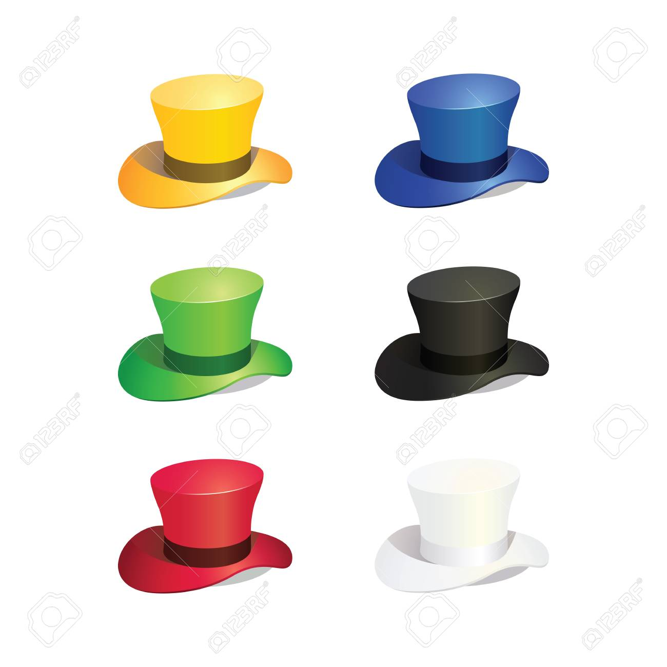 3a3bf8f211c38 Illustration of Six Colors Top Hat Stock Vector - 59714861