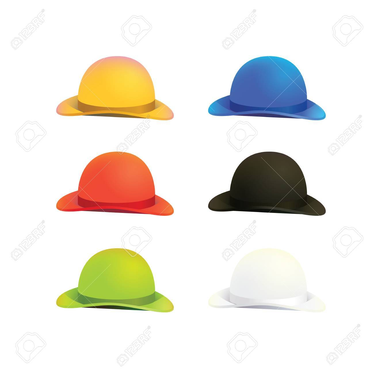 00b1b4a0a8c3c Illustration Of Six Colors Bowler Or Derby Hat Royalty Free Cliparts ...