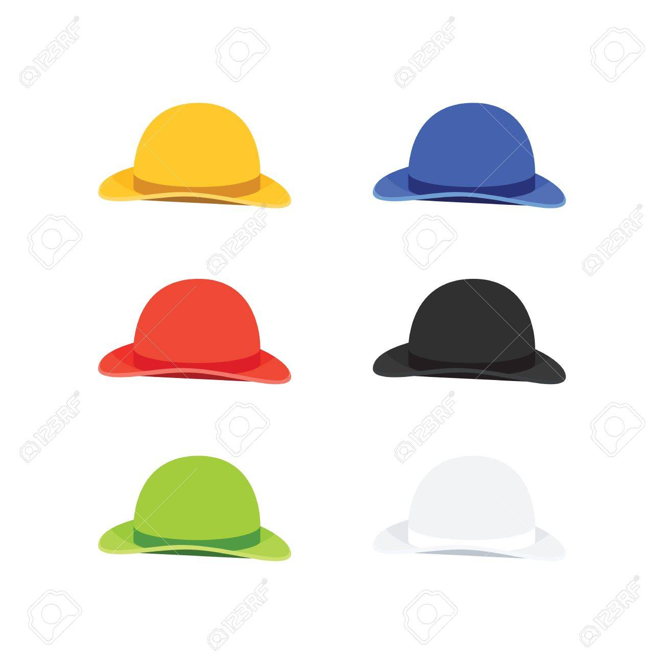 7728ecb1343a9 Vector - Vector Illustration of Six Colors Bowler or Derby Hat