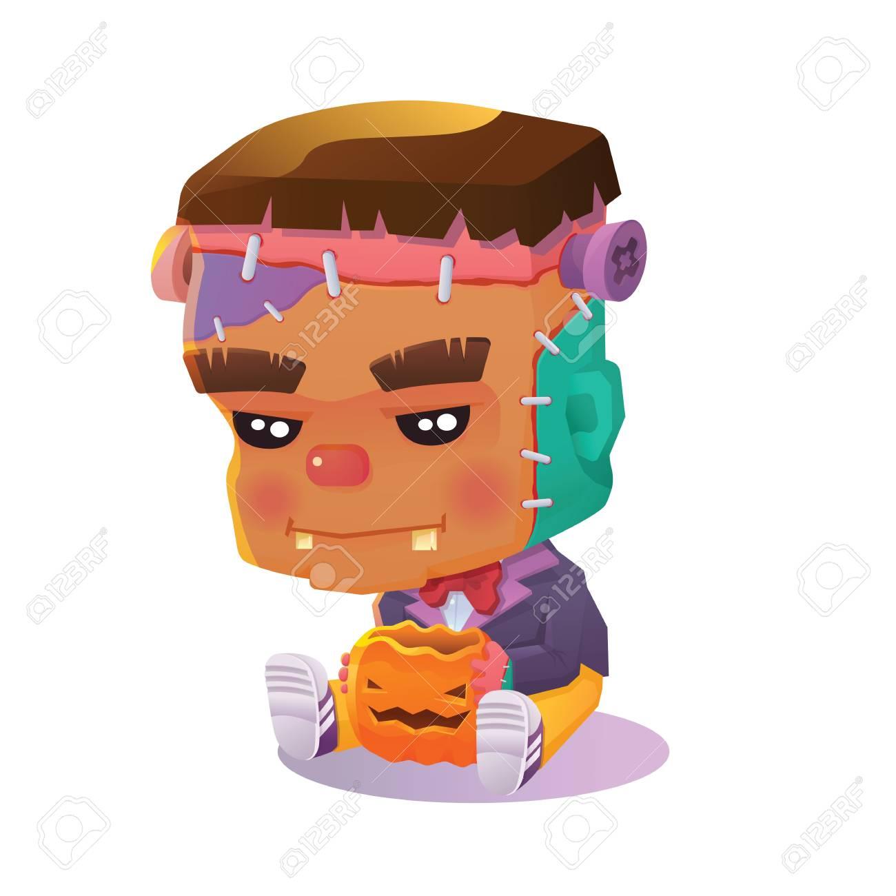 Ilustración Del Vector Del Personaje Lindo Solitaria De Frankenstein ...