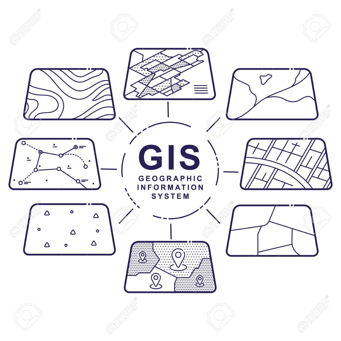 Illustration of GIS Spatial Data Layers Concept for Infographic,
