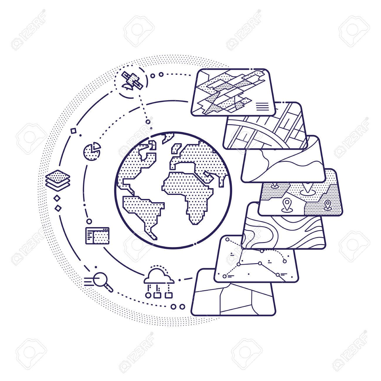 Illustration of GIS Spatial Data Layers Concept for Business