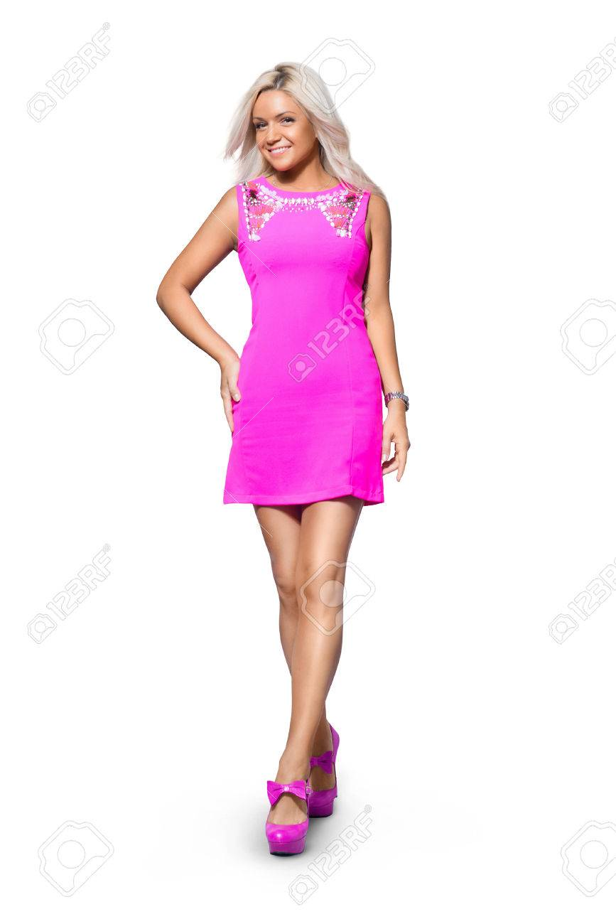 e1f9a1948789 blonde girl in short pink dress and high heels Stock Photo - 75331902