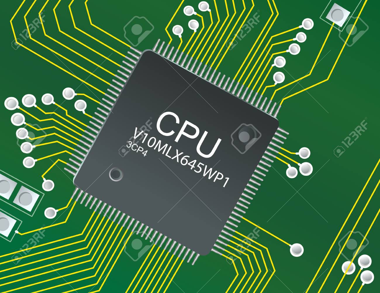 Illustration of chip on circuit board Stock Photo - 8641851
